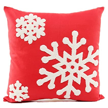 Howarmer 18x18 Christmas Decoration Red Throw Pillow Cover Embroidered Pillows For Teen Snow