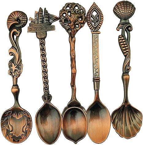 Copper red Hofumix Flatware Sugar Spoons Retro Stereoscopic Spoons Coffee Spoon Dessert Spoon Royal Style Metal Tea Spoons Set of 5