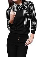Allegra K Women's Self Tie Bow Neck Stripe Long Sleeves Top