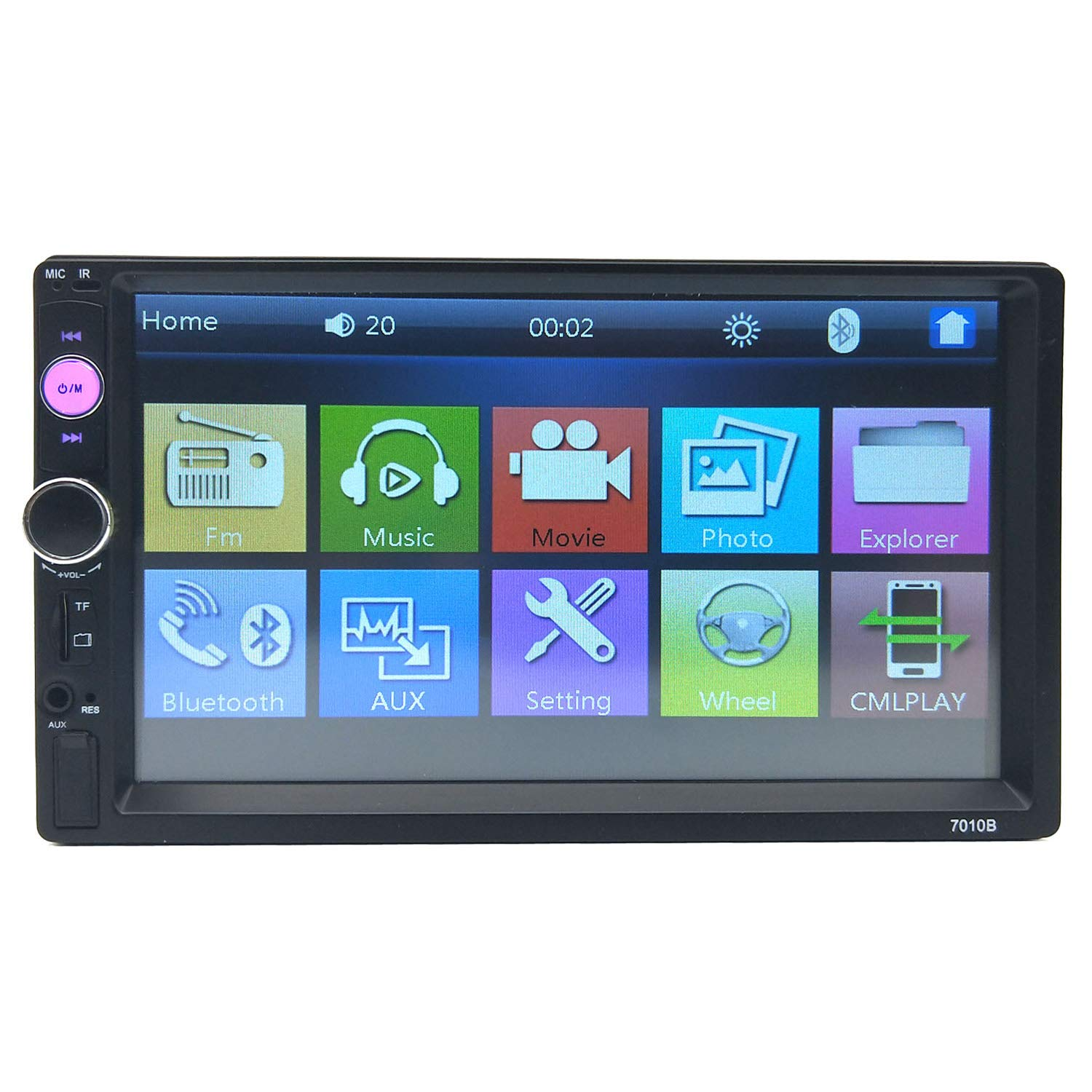 CACA Double Din Car Stereo Receiver 7 Inch Touchscreen in Dash Audio Video Player Bluetooth FM Radio MP3 4 5 TF USB AUX,Remote Control,Backup Camera