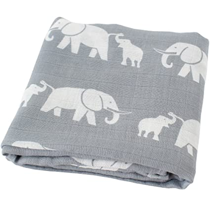 "Lifetree bebé muselina swaddle manta – ""Elefante Impresión"" bambú algodón bebé Swaddle Wrap"