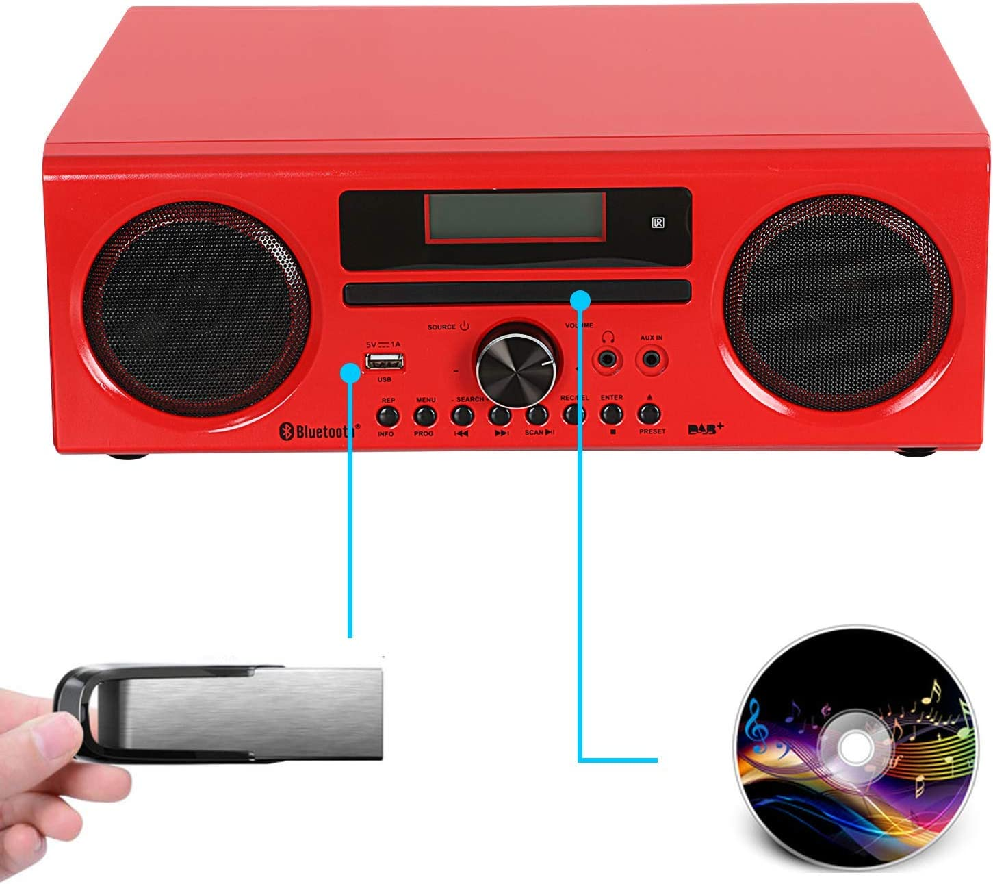USB T/él/écommande avec Son Haut-Parleur 2 * 15W Bluetooth AUX in dl Dab//Dab+ Radio et FM DSP Compacte Lecteur CD St/ér/éo HiFi Tout-en-Un