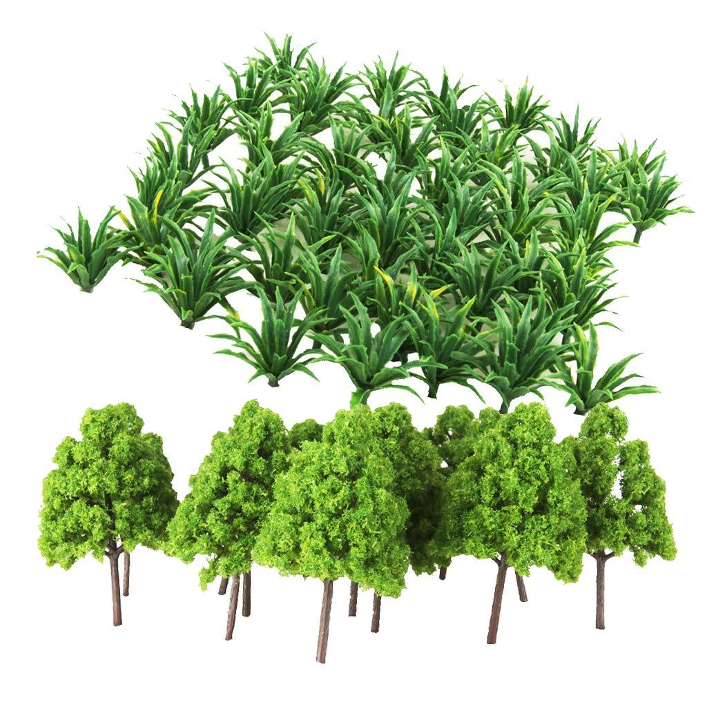 D DOLITY Modelo en Miniatura Verde Árbol Hierba para Modelismo ...