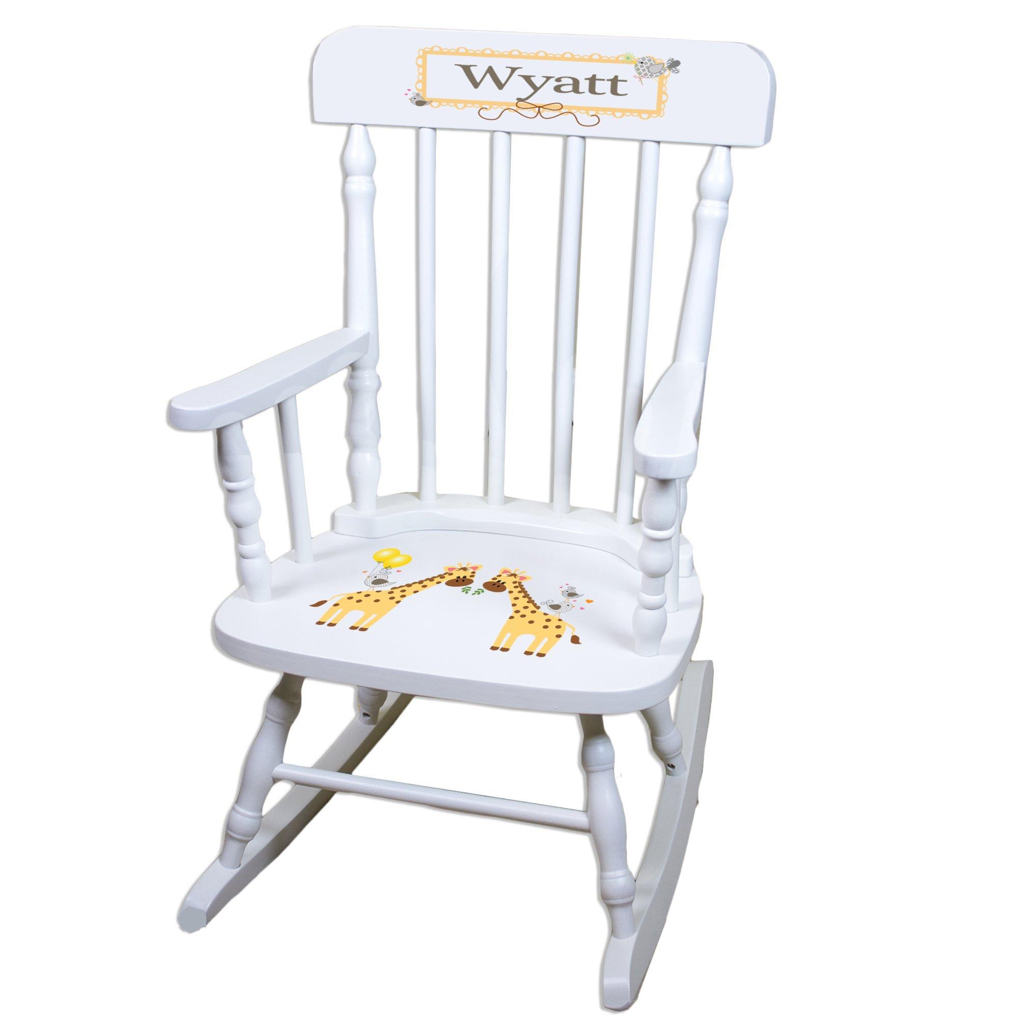 Personalized Giraffe White Childrens Rocking Chair