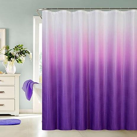 13 Piece Luxurious Waffle Weave Fabric Ombre Shower Curtain 70u0026quot;xu0026quot  ...