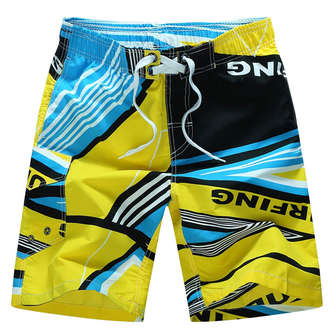 SCBMSAIURBF Summer Shorts Beach Surfing Liner Swimwear Fitness Bodybuilding Swimming Trunks Coconut Tree Mens Bathing Suit Black Yellow Asian 5XL