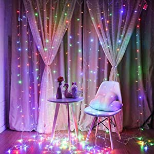 RGB Curtain Light with 8 Modes Control Decoration for Window Home Patio Garden Christmas Indoor Outdoor Decoration, USB Operated, IP65WATERPROOF (9.8ft X 6.5ft) (Multicolor)
