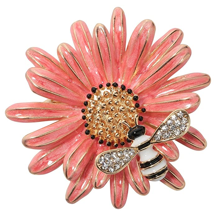Vintage Style Jewelry, Retro Jewelry Szxc Jewelry Sun Flower Enamel Honey Bee Insect Series Brooch Pin Accessories For Her Women $13.99 AT vintagedancer.com