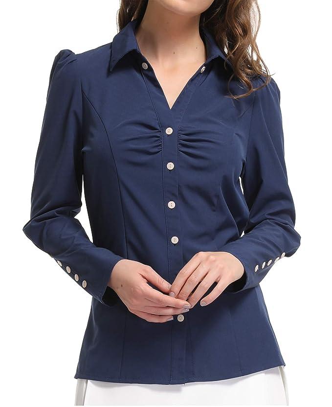 MISS MOLY Camisas y Blusas para Mujeres Oficina señoras Ladies V Cuello Casual Tops Casuales Mangas largas abotonadas Fruncen el Frente Formal Workwear