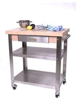 cucina elegante kitchen cart maple stainless steel quoth x : leaf kitchen cart