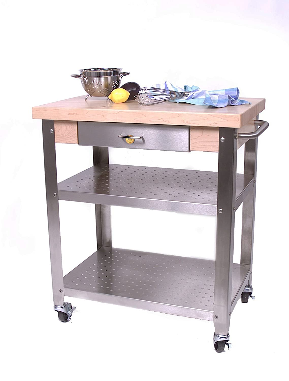 Amazon Cucina Elegante Kitchen Cart Maple Stainless Steel