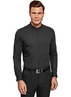 oodji Ultra Hombre Camisa con Cuello Mao y Detalles Decorativos: Amazon.es: Ropa y accesorios