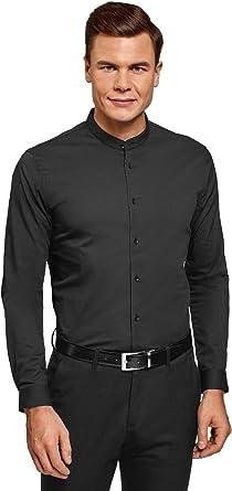 oodji Ultra Hombre Camisa Extra Slim con Cuello Mao: Amazon.es ...