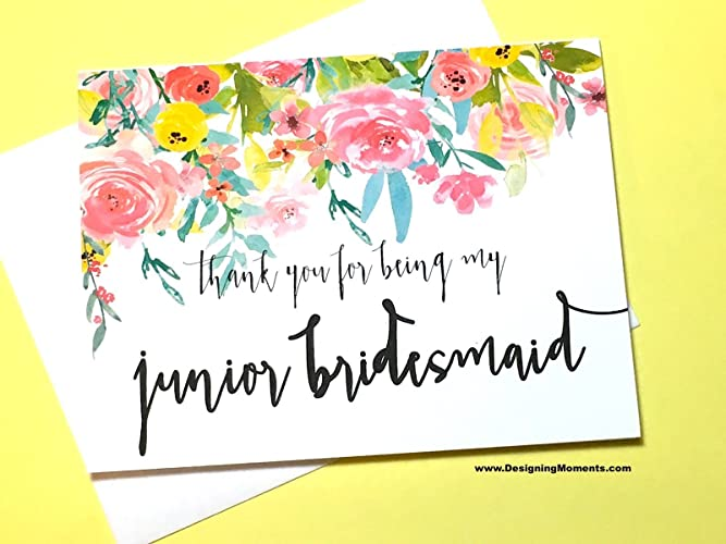 Amazon Com Junior Bridesmaid Thank You Card Thank You For Being