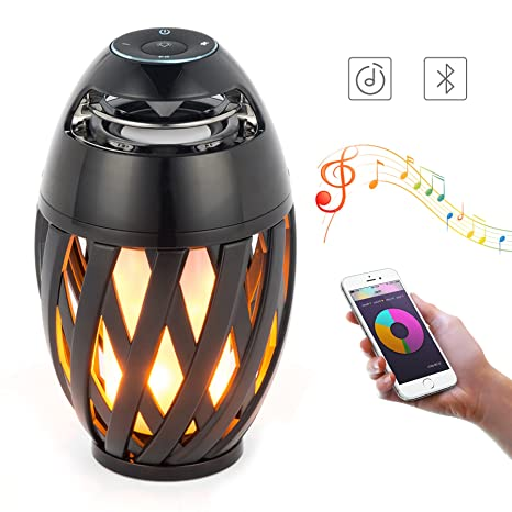 Wireless LED Table Flame Lamp Bluetooth Speaker Portable Light Outdoor Camping