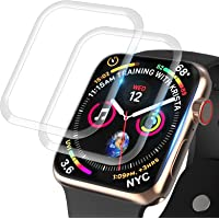 2 Packs [Tempered Glass] Screen Protector Compatible for Apple Watch 44mm Series 6 SE Series 5 Series 4 3D Edge Full…