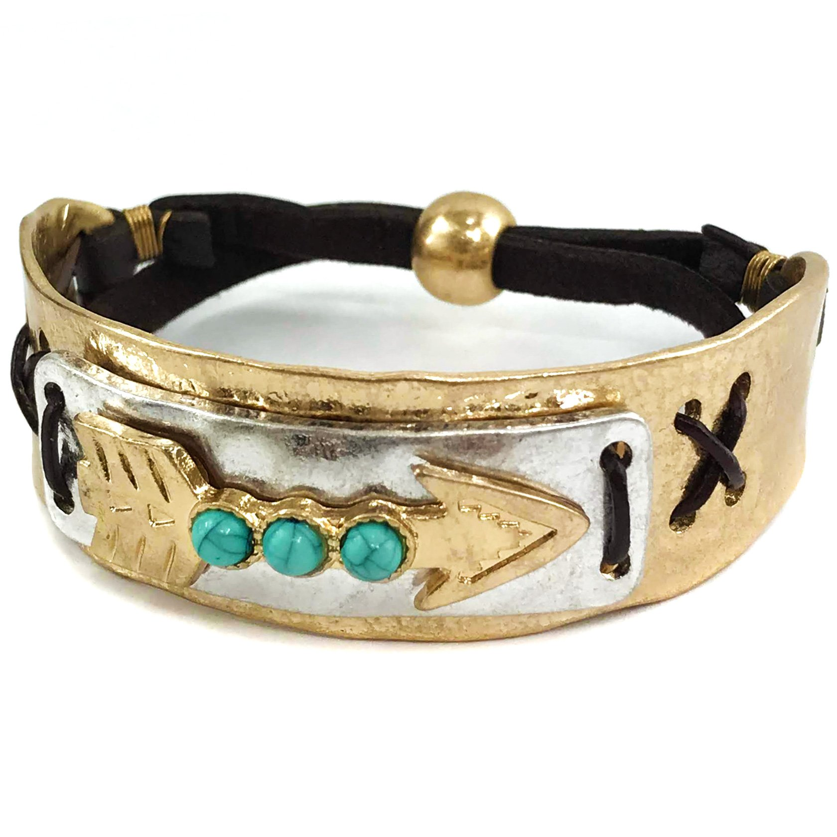 Western Peak Western Tritone Hammered Plate Arrow Turquoise Leather Cuff Bracelet (Gold)