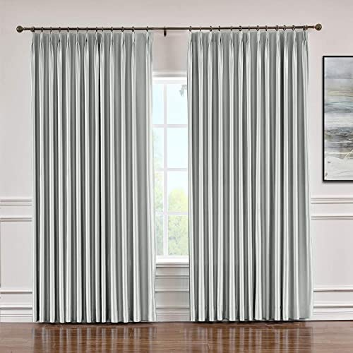 Macochico Extra Long Blackout Faux Silk Curtains Room Darkening Pinch Pleated Panels