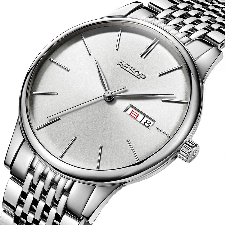 メンズUltra Thin Watch Double Calendar Watchステンレススチール自動機械防水時計 シルバーホワイト B07C6ZGMPC  シルバーホワイト