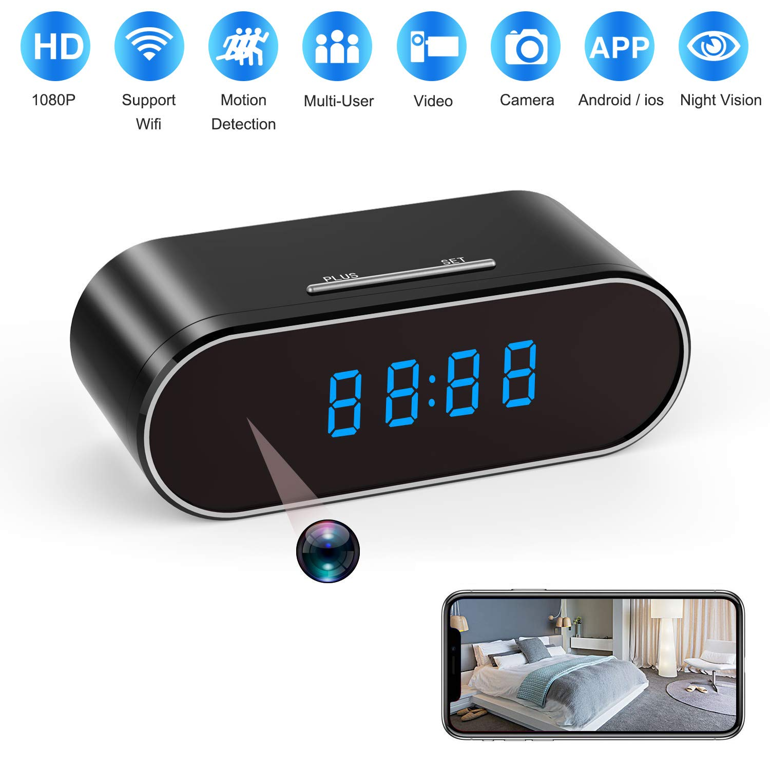 Spy Camera 1080P WiFi, Hidden Cameras Clock Video Recorder 140°Wide Angle Lens Wireless IP Camera for Indoor Home Security Monitoring Nanny Cam with Night Vision Motion Detection (2019 New Version) by ELValley