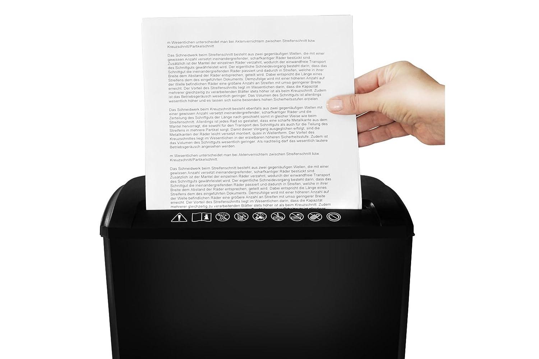 5 Blatt 218 mm breiter Papiereinzug 7 l Beh/älter ednet 91604 Aktenvernichter 80 g 7 mm Streifen gleichzeitig