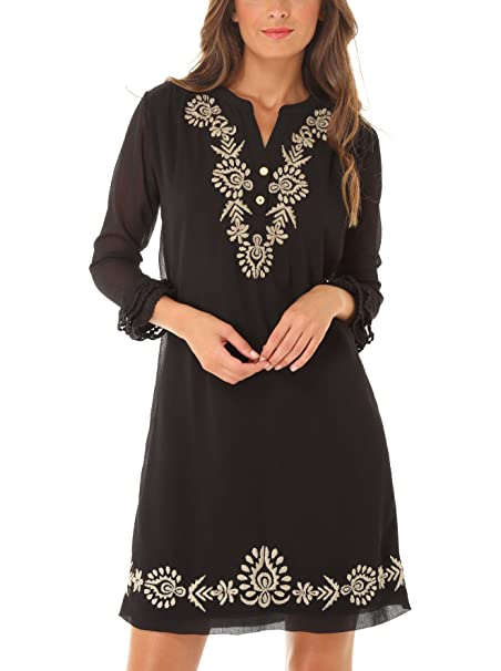 Almatrichi Vestido Bosnia Negro/Blanco ES 48