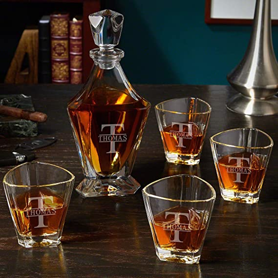 Oakmont Engraved Bishop Whiskey Decanter Set Personalized Product Liquor Decanters