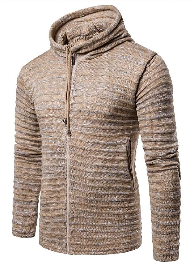 WSPLYSPJY Mens Slim Fit Full Zipper Ribbed Kintted Cardigan Sweaters