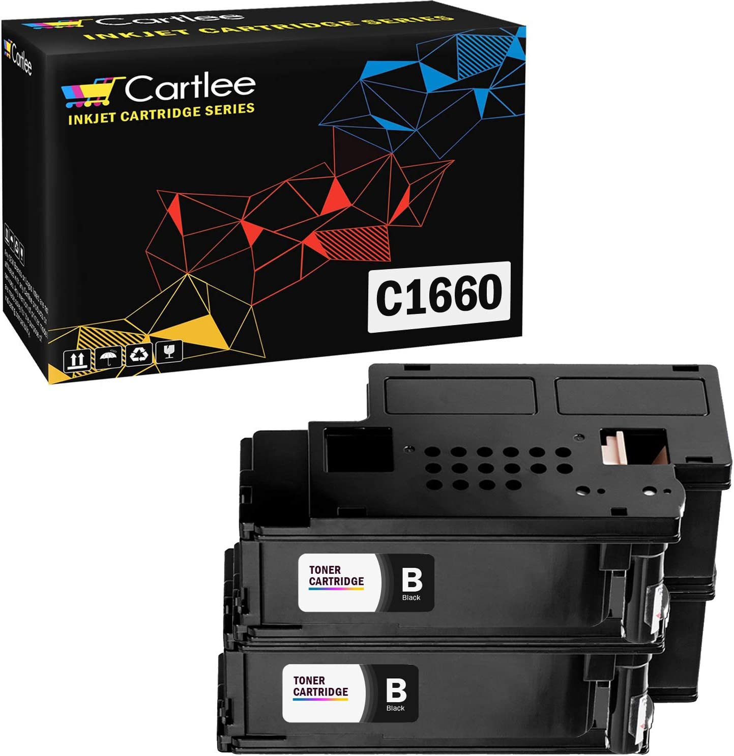 Cartlee Set of 2 Black Compatible High Yield Laser Toner Cartridges Replacement for Dell C1660, C1660W, C1660cnw, 1660, 1660w, 1660cnw 4G9HP Printers