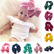 Sunbona Headband Baby,Toddler Girls Bowknot Turban Velvet Head Wrap Hair Bands Photography Props Hairband (Pink)