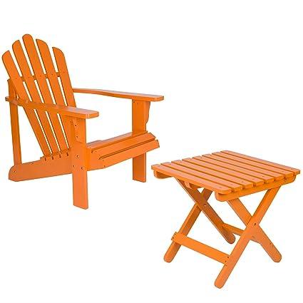Shine Company Inc. Adirondack Square Folding Table With Westport Adirondack  Chair   Tangerine