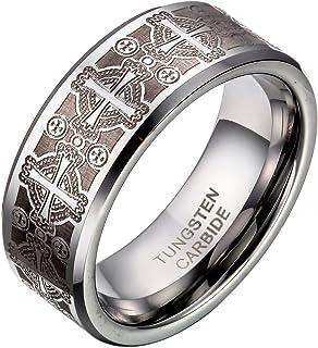 JewelryWe Bijoux Bague Homme Laser Gravure Croix Alliance Acier Tungstène Anneaux Fantaisie Largeur 8mm Avec Sac Cadeau(Taille de Bague Optionnel)