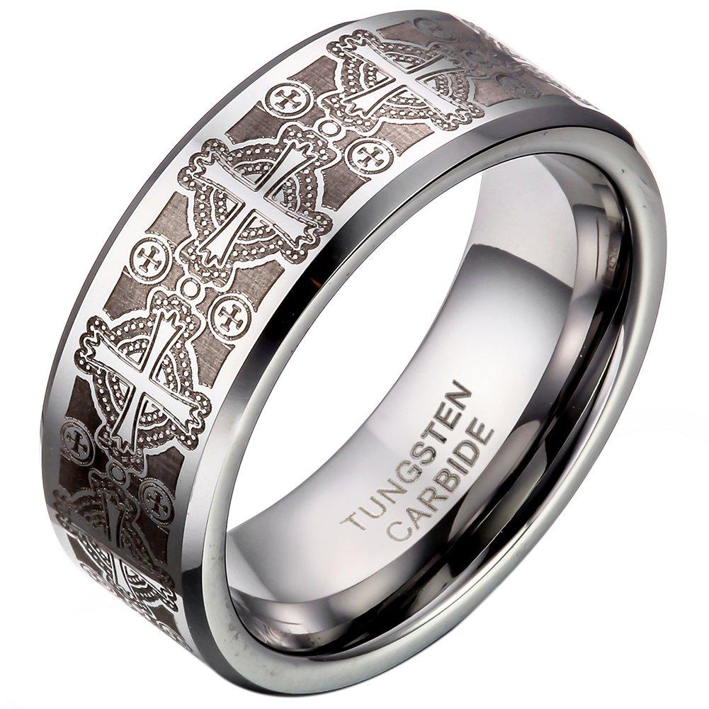 JewelryWe Bijoux Bague Homme Laser Gravure Croix Alliance Acier Tungstène Anneaux Fantaisie Largeur 8mm Avec Sac Cadeau(Taille de Bague Optionnel) 30040031