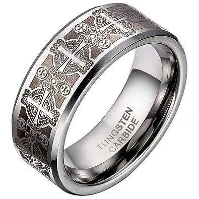 d3ac99b572a JewelryWe Bijoux Bague Homme Laser Gravure Croix Alliance Acier Tungstène  Anneaux Fantaisie (Taille de Bague