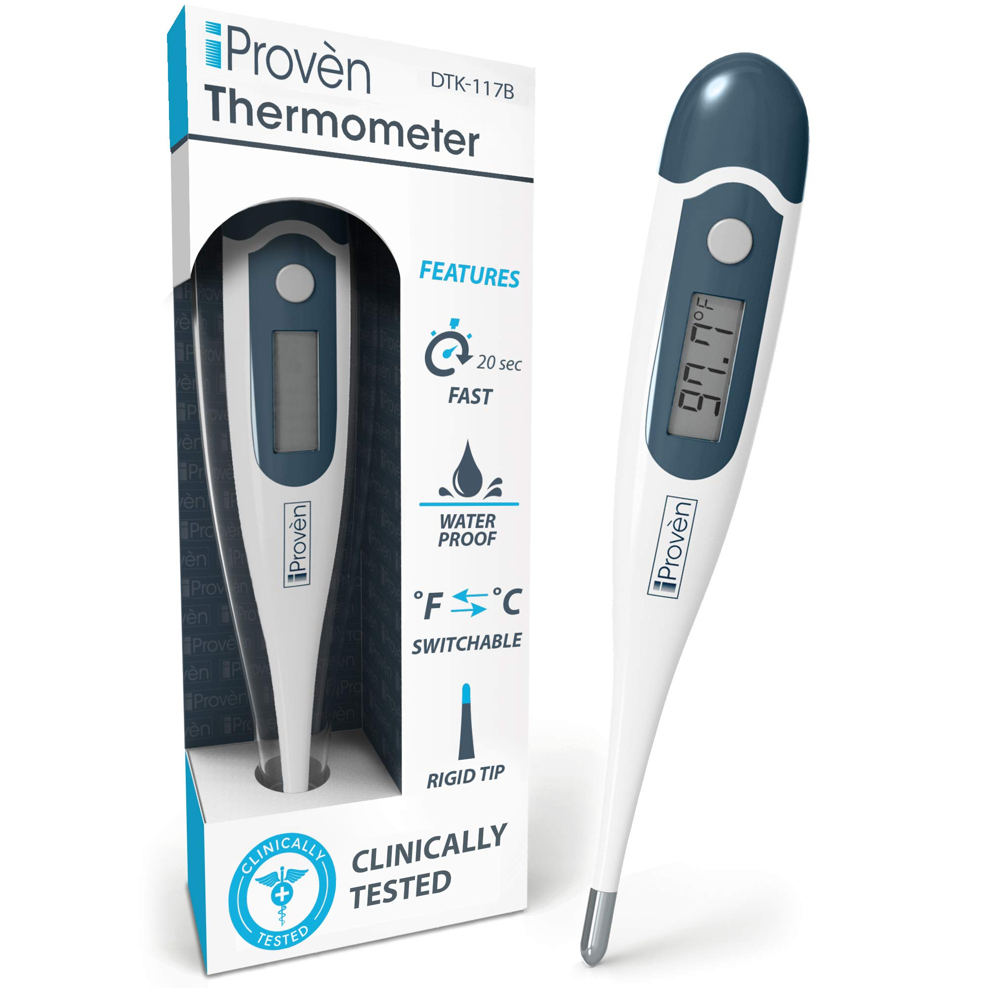 [New Version] iProvèn's Digital Rectal and Oral Thermometer for Fever - Highly Accurate & Fast Readings - with Fever Alarm & Waterproof - iProvèn's DTK-117B by iProvèn
