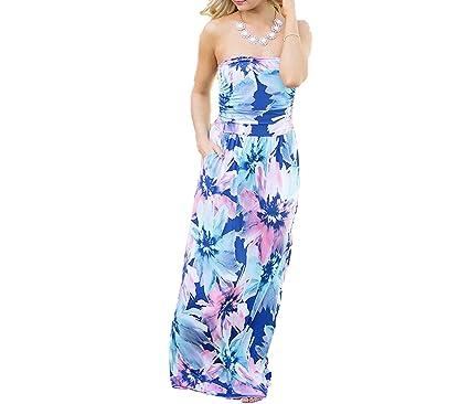 Fairy-Margot Summer Strapless Beach Long Dress Floral Print Sexy Sundress Women Party Vestidos Boho