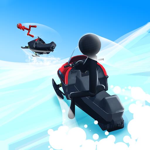 Snowmobile Stickman: Flip - Race Snow