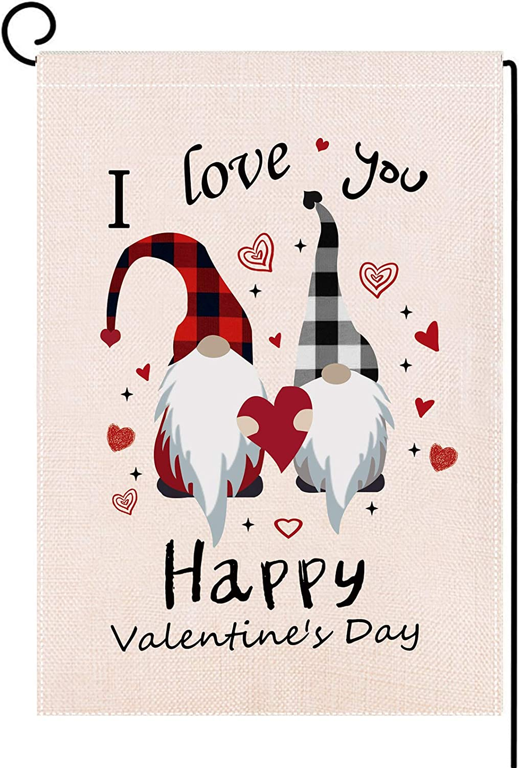 Delokey Gnomes Valantines Day Garden Flag-Double-Sided Happy Valentine's Day Yard Burlap Banner,Flag for Love,Yard Lawn Porch Party (Red Plaid)