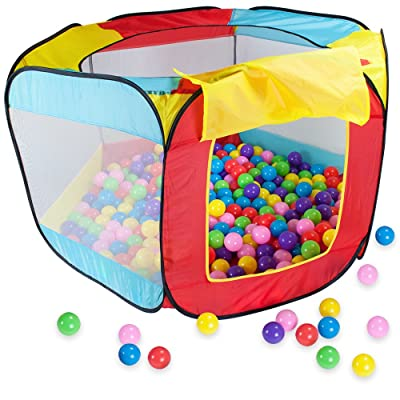 Hexagon Pop Up Ball Pit Tent | Includes 100 Balls and Breatheable Mesh Netting for Safe Fun | Comes with Carrying Case for Easy Cleanup of Balls | Easy Setup and Tear Down, 5 Windows Ensure Visibility: Toys & Games
