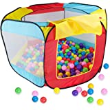 Imagination Generation Pop Up Ball Pit Tent with 200 Ball Pit Balls & Carrying Case – Kids Activity Playhouse with Crushproof Plastic Balls