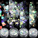 Nail Sequins Butterfly/Stars/Hearts,Holographic Iridescent Mermaid Nail Art Glitter Flakes Acrylic Nail Art Accessories DIY D
