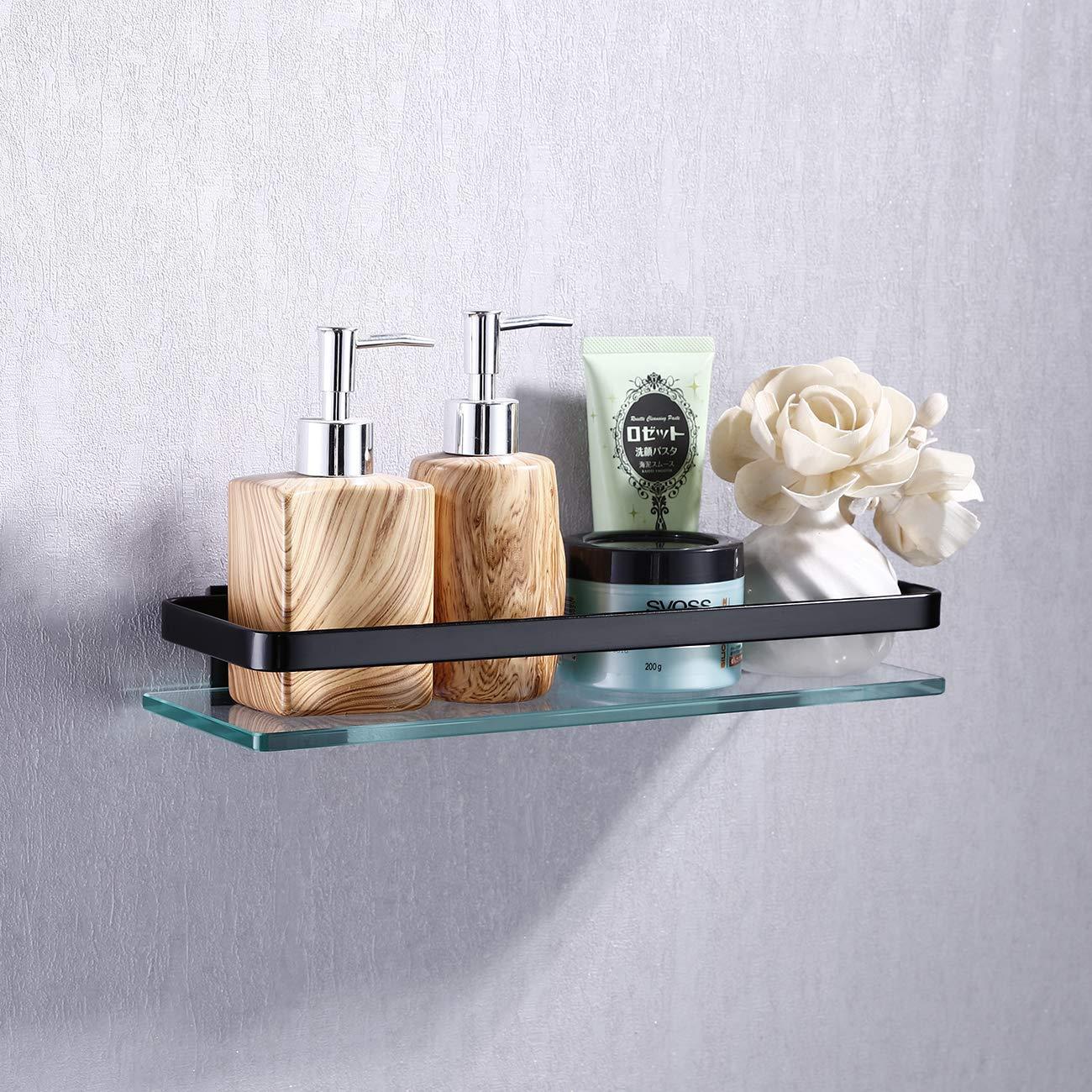 KES baño estante de cristal con rail aluminio y extra vidrio templado ducha estantería Rectangular soporte de pared de estilo contemporáneo