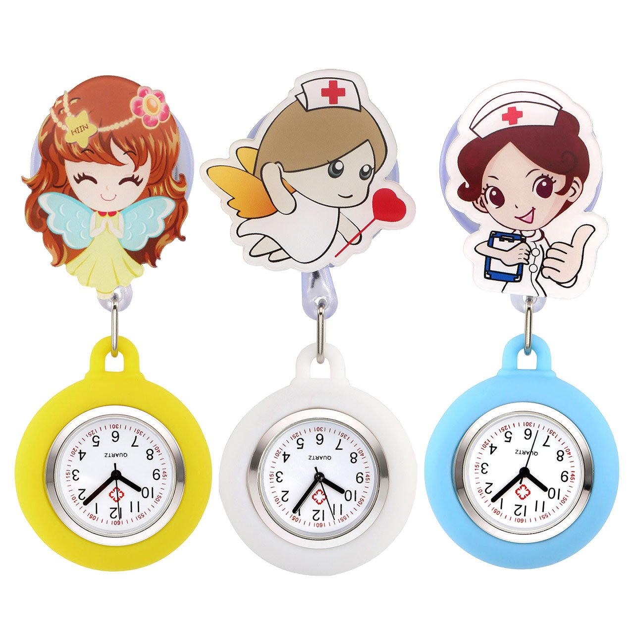 Top Plaza Girls' Kid's Cute Lovely Cartoon Angel Silicone Nurse Clip-on Fob Brooch Hanging Easy Pull Clasp Stretch Analog Quartz Pocket Watches,Set of 3#2