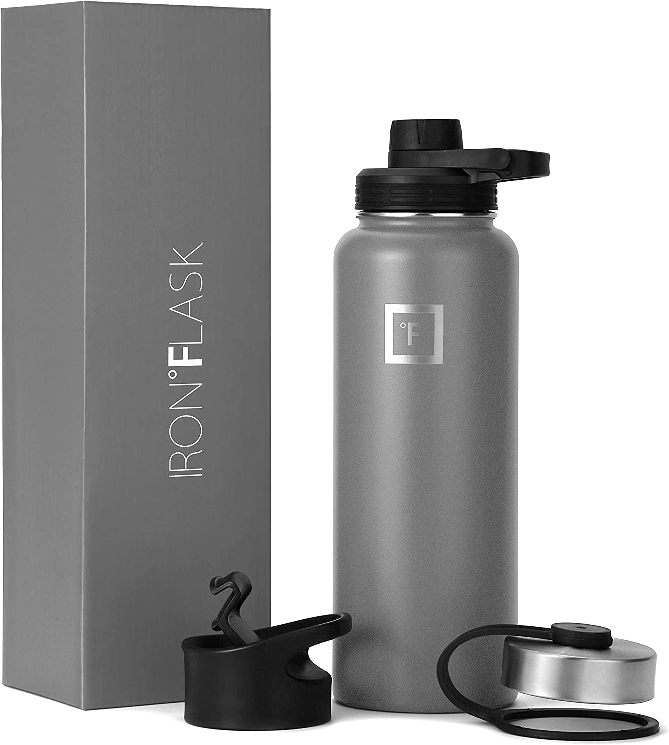 IRON °FLASK Sports Water Bottle - 32 Oz, 3 Lids (Spout Lid), Vacuum Insulated Stainless Steel, Hot Cold, Modern Double Walled, Simple Thermo Mug, Hydro Metal Canteen (Graphite)
