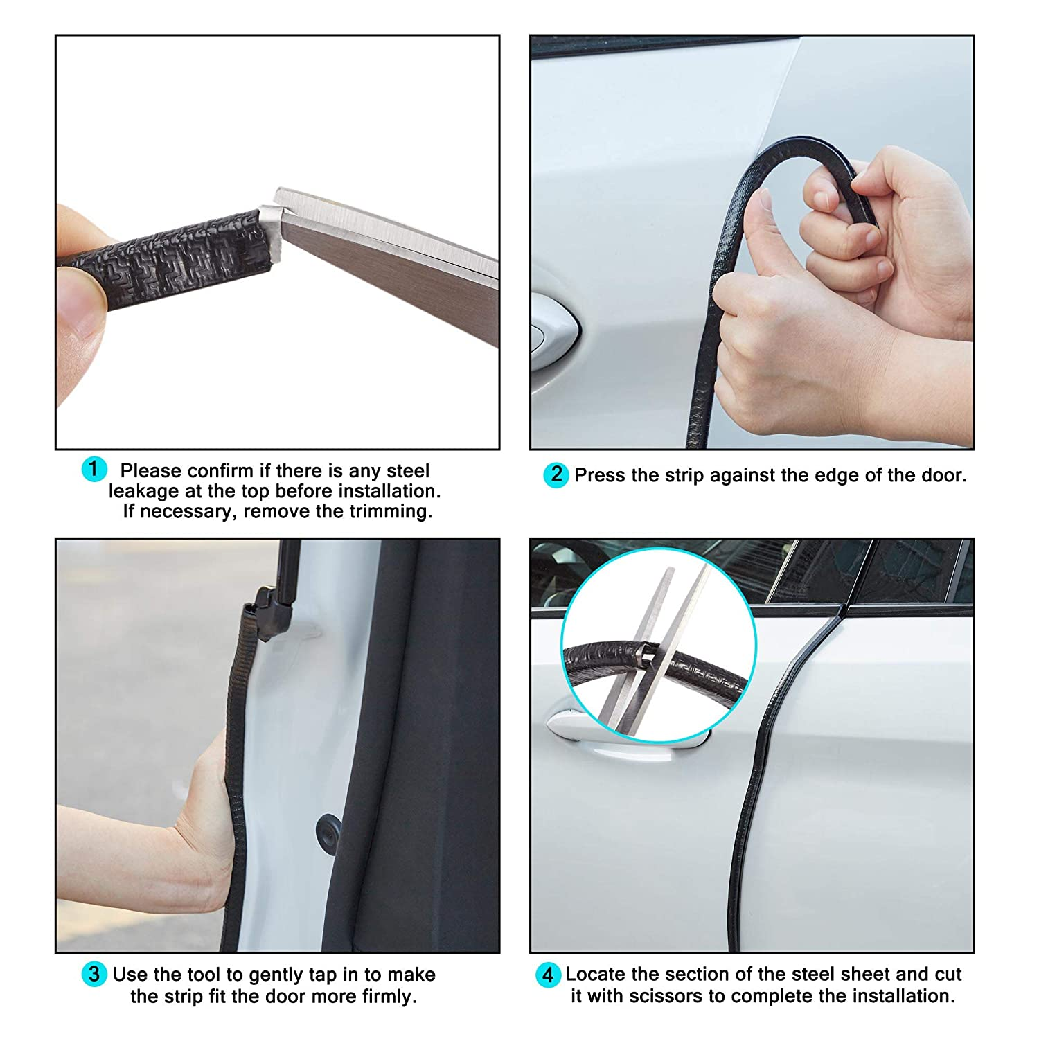 Black Flexible Anti-Collision No-Sticker Protected Lining Moulding Strips 16ft TOMALL Car Door Guards U Shape Rubber Seal Protector 5M