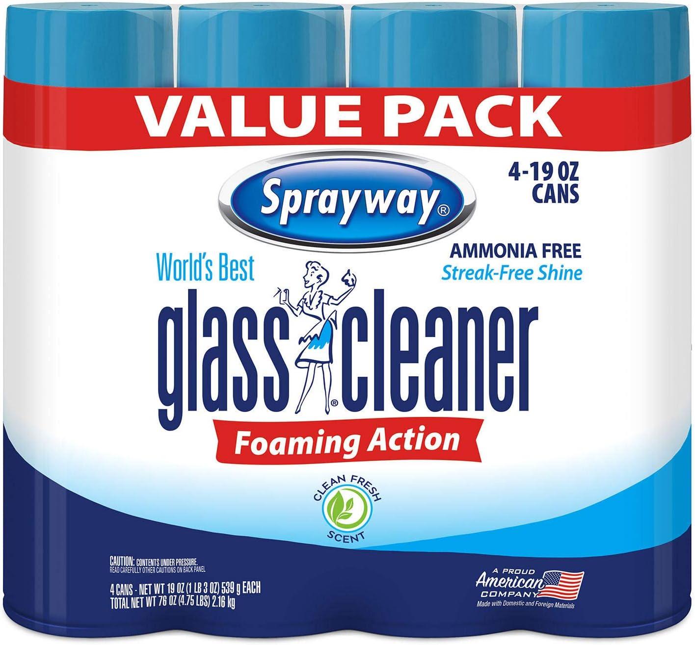 Sprayway Glass Cleaner Aerosol Spray, 19 oz, 4 Pack