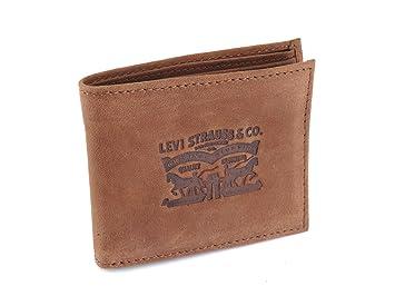 Levis cartera cuero efecto envejecido horizontal marrón
