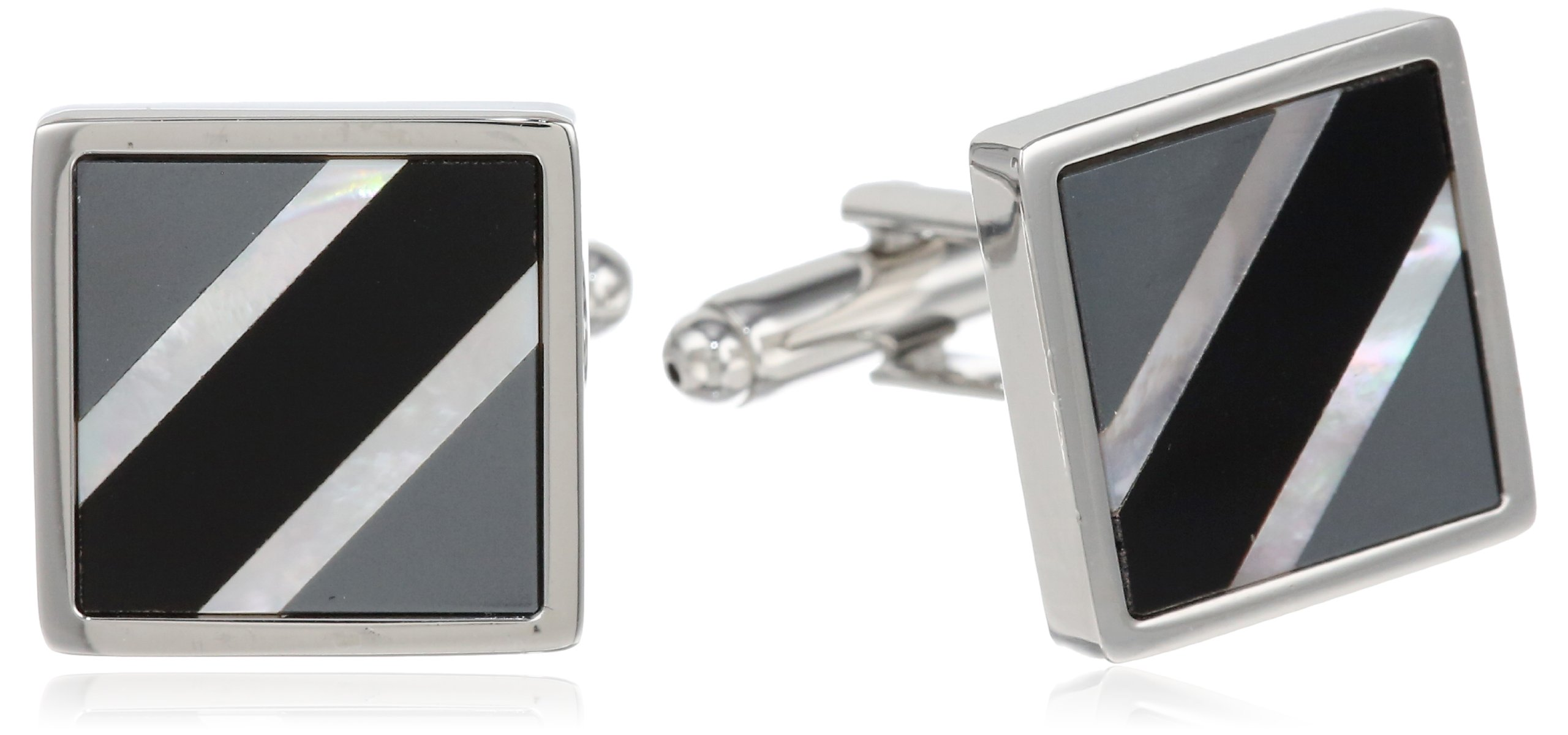 Stacy Adams Men's Square Cuff Link With Onyx and Smoke Mop, Silver, One Size