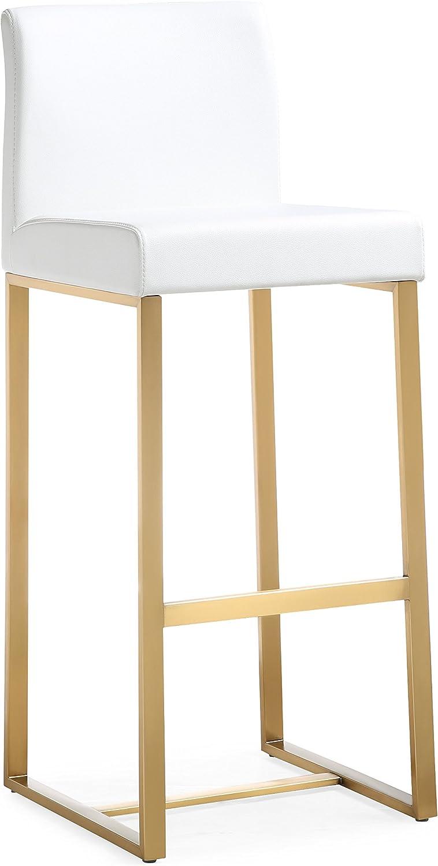 TOV Furniture Denmark Steel Barstool, Bar Height, White