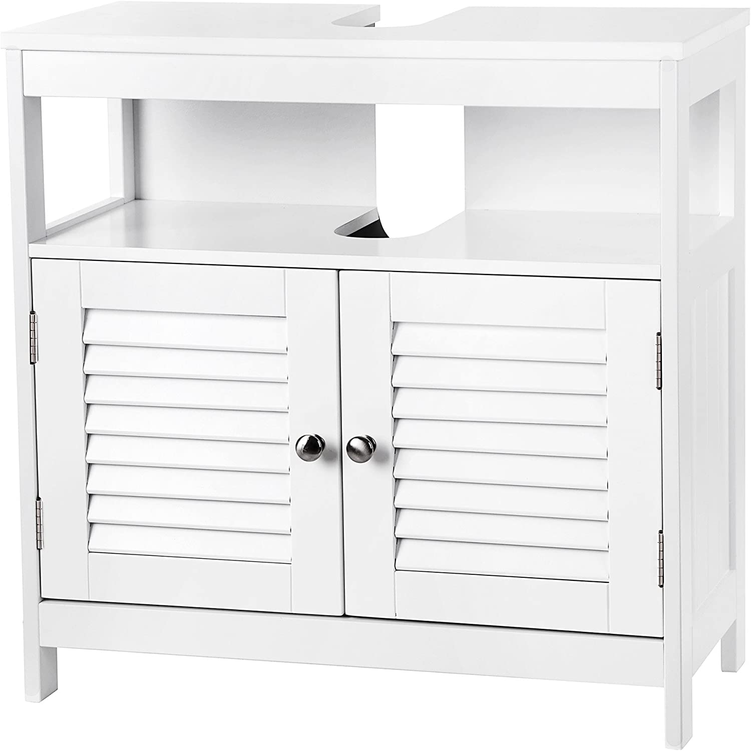 VASAGLE Vanity Unit Without Sink Lots of Storage Space Bathroom Cabinet with Slat Doors 2 White, MDF panels, With Open Compartment, 60 x 30 x 60 cm